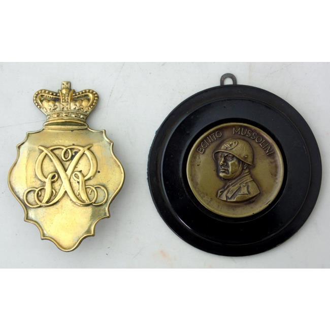 British Belgic Shako Plate 1812 & Mussolini Plaque