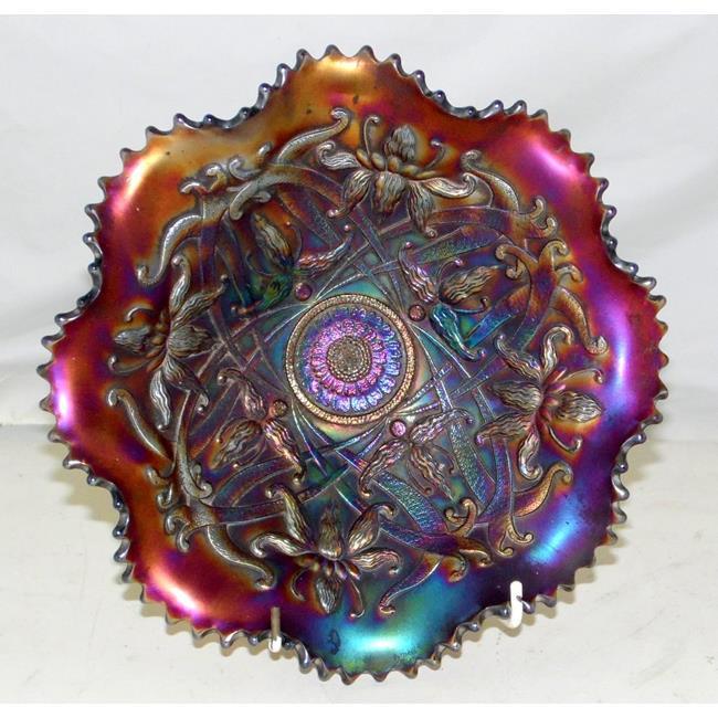 Northwood Wishbone Ruffled Amethyst Carnival Glass