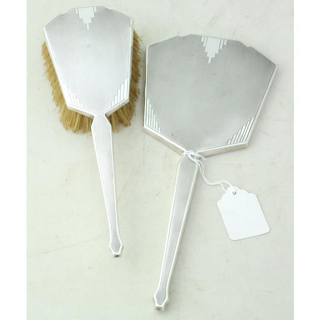 Art Deco Sterling Silver Hand Mirror & Hair Brush