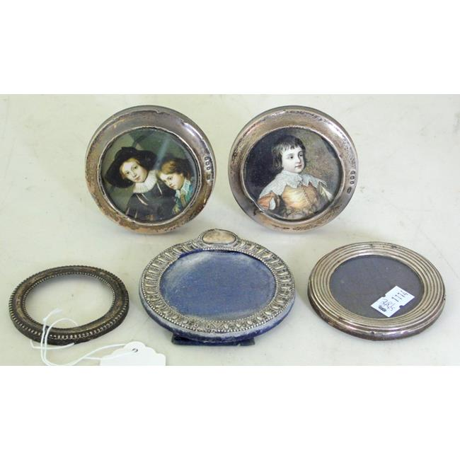 Antique Sterling Silver Circular Photograph Frames