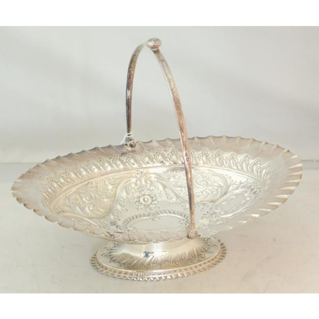 A Silver Swing Handle Cake Basket  Sheffield 1887