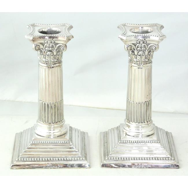Pair of Walker & Hall Silver Plate Candlesticks