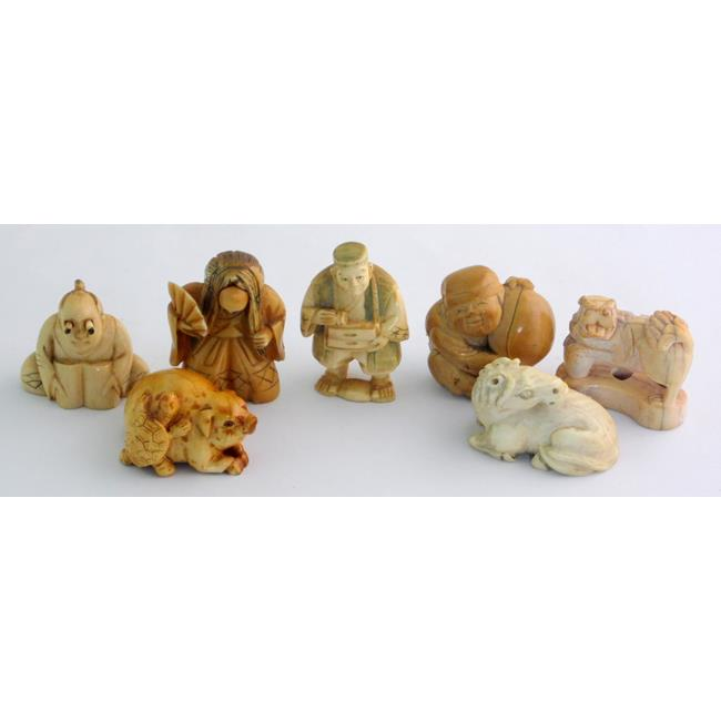 Collection of 7 Antique Netsukes