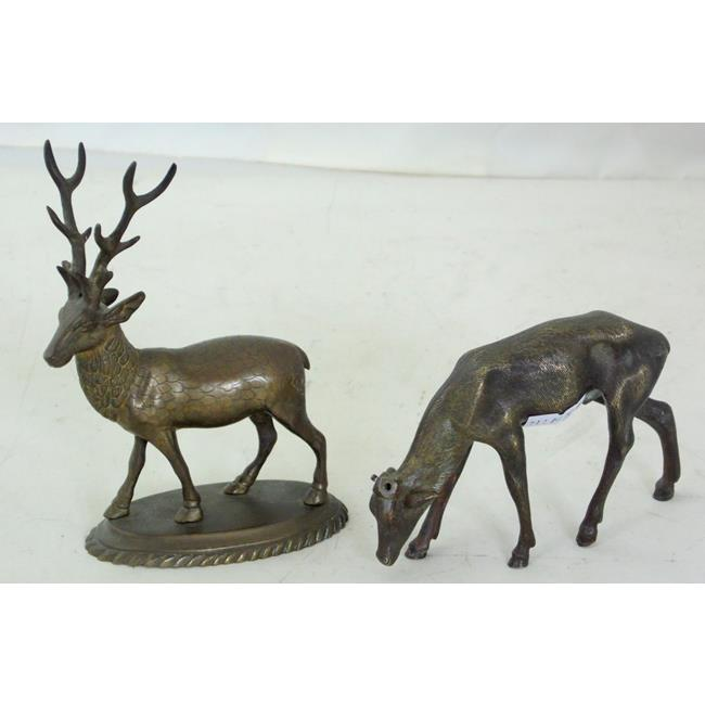 Antique Bronze Stag and Deer Figurines.Early 1900s