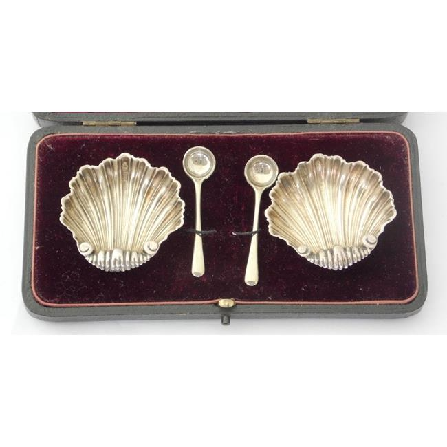 A Pair of Victorian Sterling Silver Scallop Salts