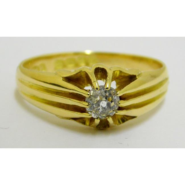 Antique 18ct Gold White Diamond Solitaire Ring