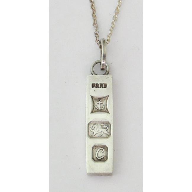 Sterling silver Ingot on 18 inch Silver Chain