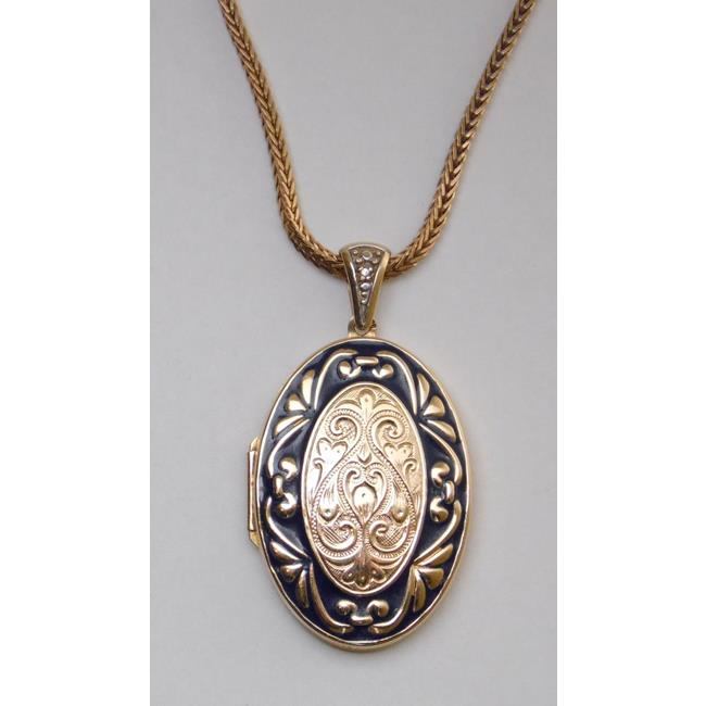14ct Yellow Gold Oval Engraved Repousse Locket