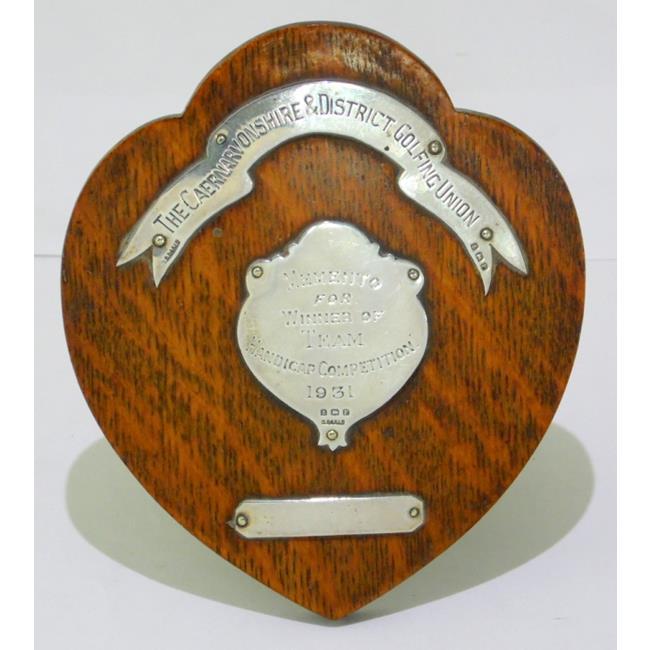 Sterling Silver Mounted on Oak Frame Golf Trophy