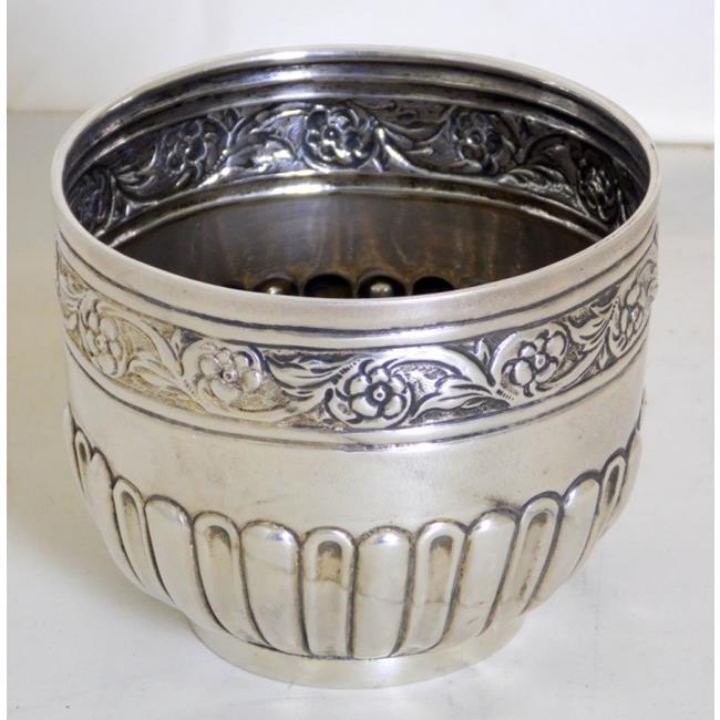 Antique Sterling Silver Fluted Floral Sugar Bowl
