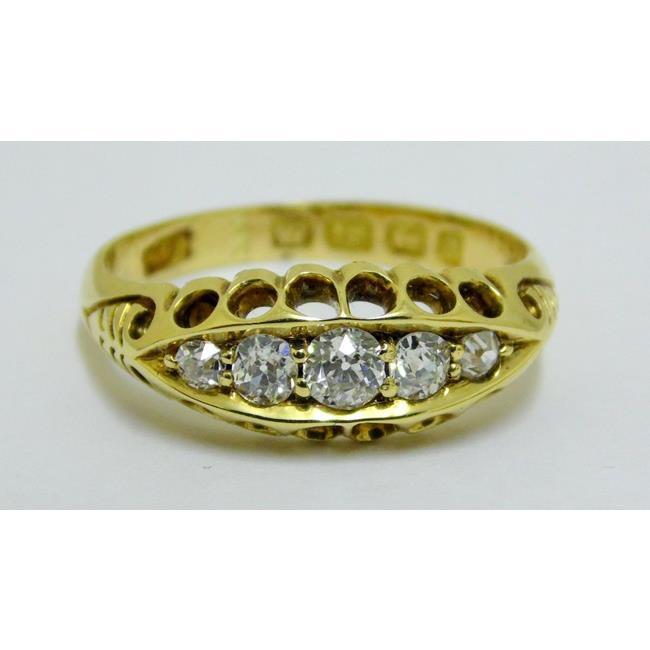 Victorian 18ct Gold 5 Stone White Diamond Ring