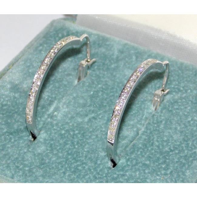 Fine 18ct White Gold Diamond Hoop Earrings