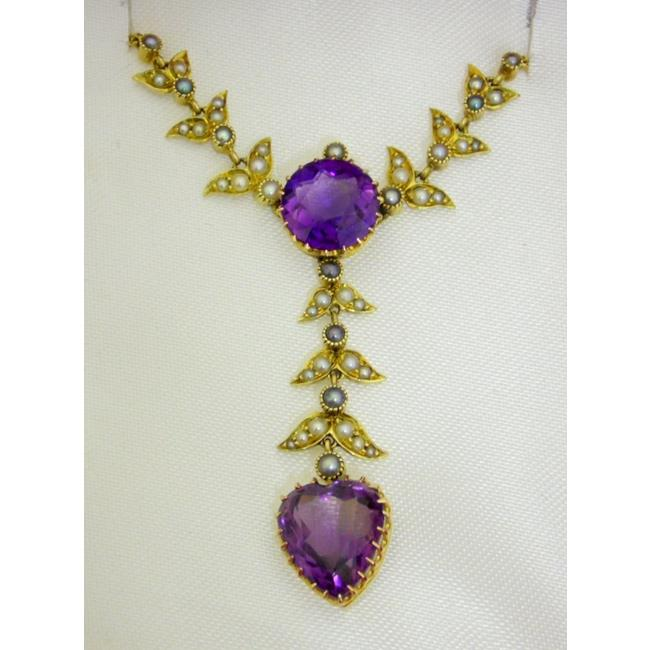 Victorian 14ct Gold Amethyst and Pearl Pendant.