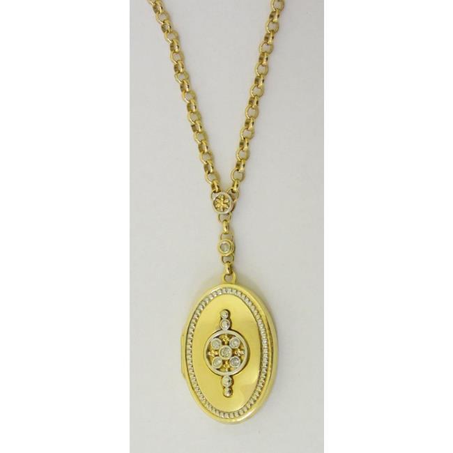 14ct Yellow Gold Diamond Set Locket and Chain
