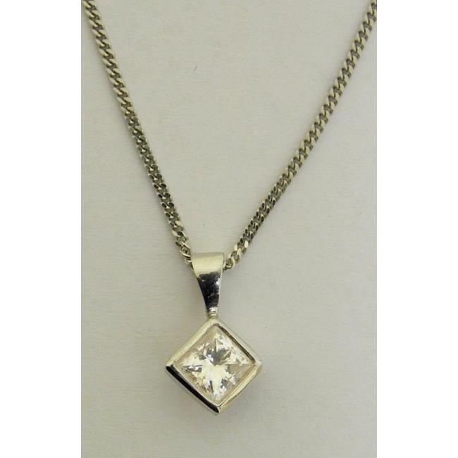 Fine 18ct White Gold Princess Cut Diamond Pendant