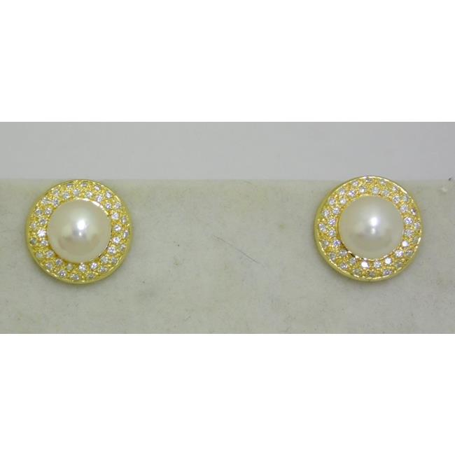 A Pair of 18ct Gold Pearl & Diamond Stud Earrings