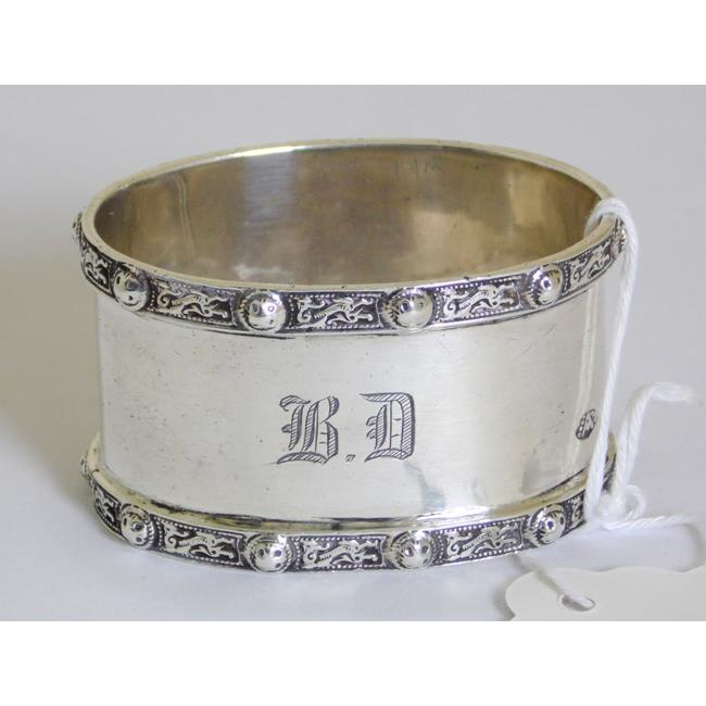Sterling Silver Norse Dragons Oval Napkin Ring