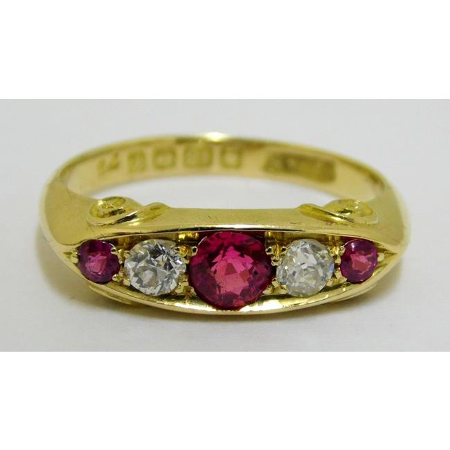 Antique 18ct Yellow Gold Ruby and Diamond Ring.