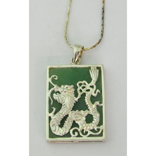 Sterling Silver Jade Mounted Dragon Pendant