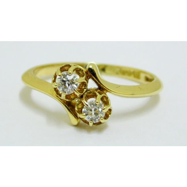 Edwardian 18ct Yellow Gold Diamond Crossover Ring