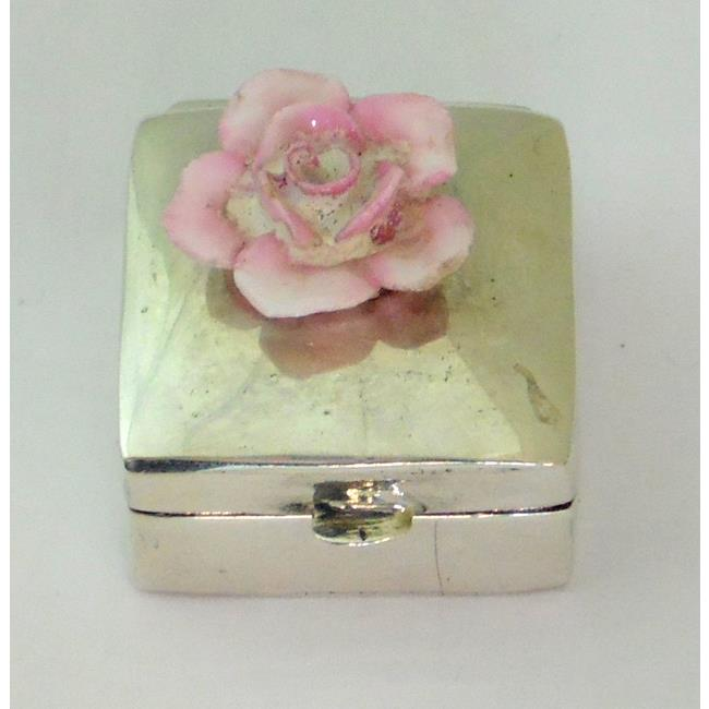 Sterling Silver Square Pill Box Rose Mounted