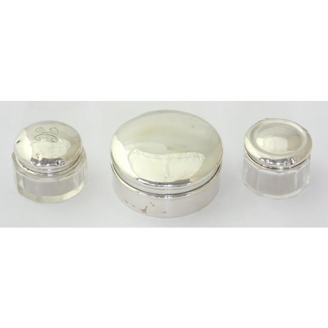 Sterling Silver Circular Box & 2  Rouge Pots