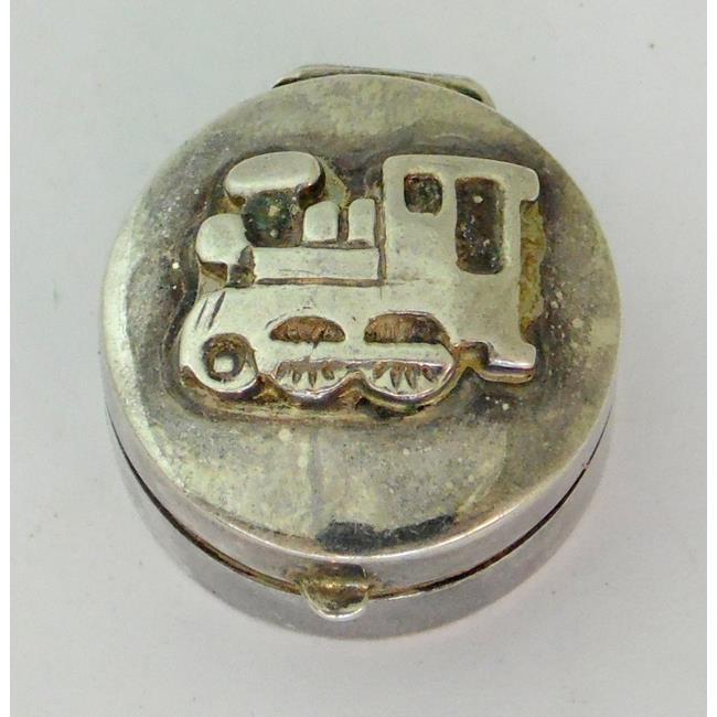 Sterling Silver 'Train' Circular Pill Box