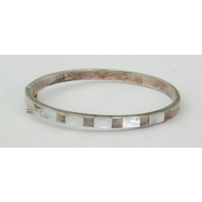 Silver & Mother of Pearl Mounted Bangle 20thc.