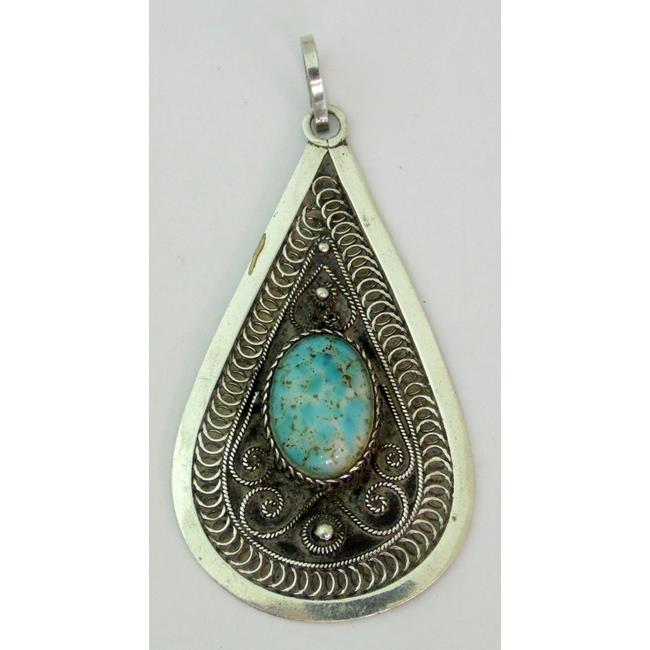 Navajo Indian Silver & Turquoise Pendant