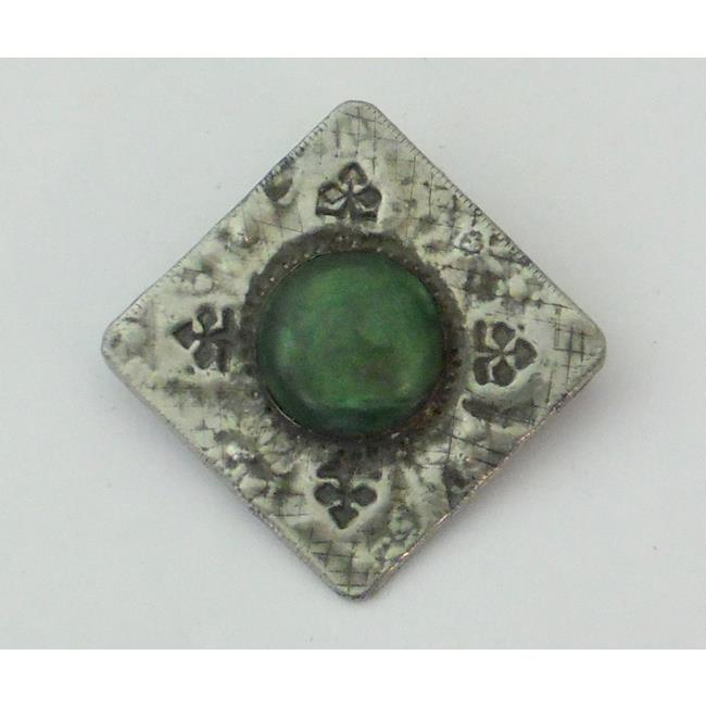 Ruskin Style Pewter Brooch with Green Stone.