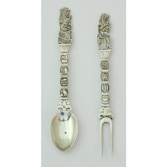 Egyptian Silver Pickle Fork and Spoon Set