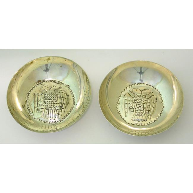 Silver Pair of Trinket Dishes Eagle Decoration