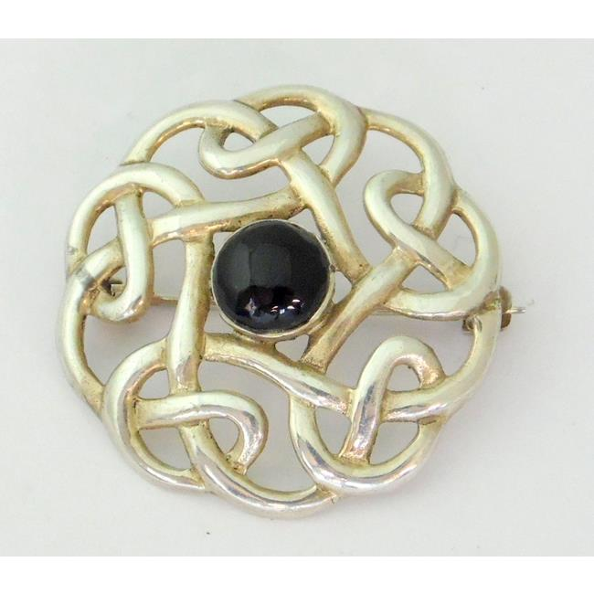 Silver & Onyx Celtic Knotwork Brooch