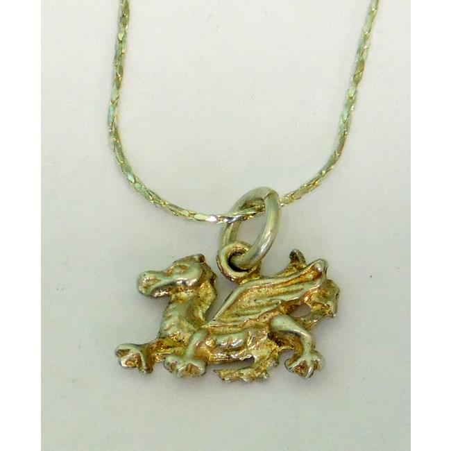 Sterling Silver Welsh Dragon Pendant with Chain.