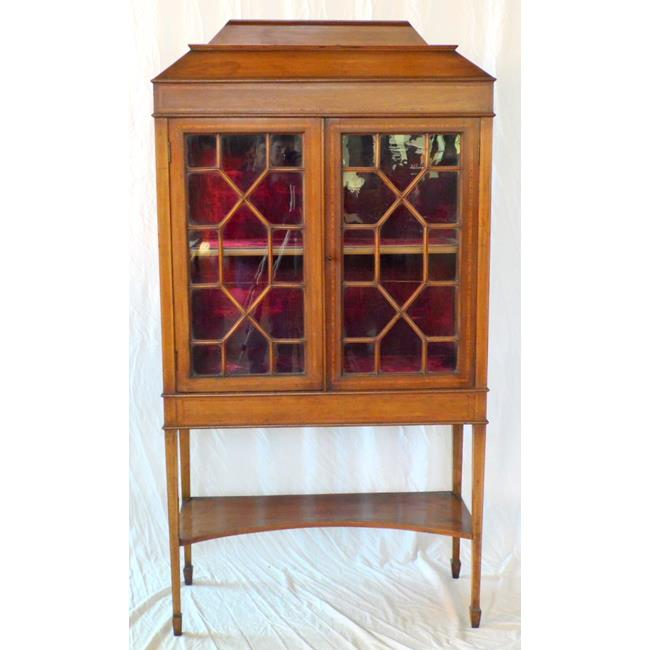 Edwardian Inlaid Display Cabinet. Early 1900's