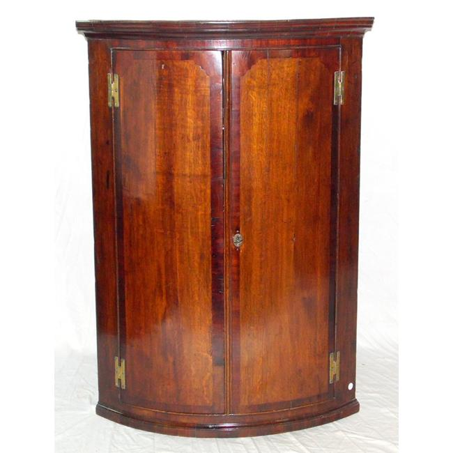 Georgian Oak and Mahogany Bowfront Corner Cupboard