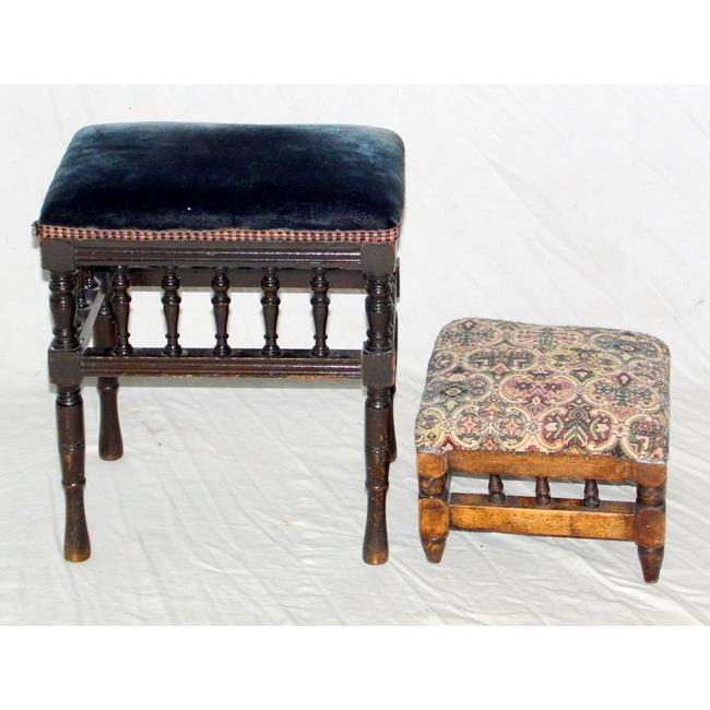 Two Victorian Galleried Stools