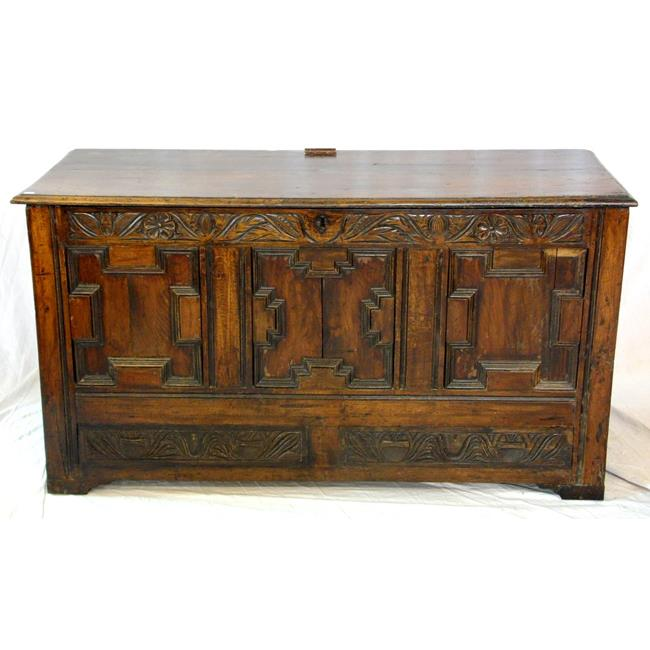 A 17th Century Carved Oak Coffer
