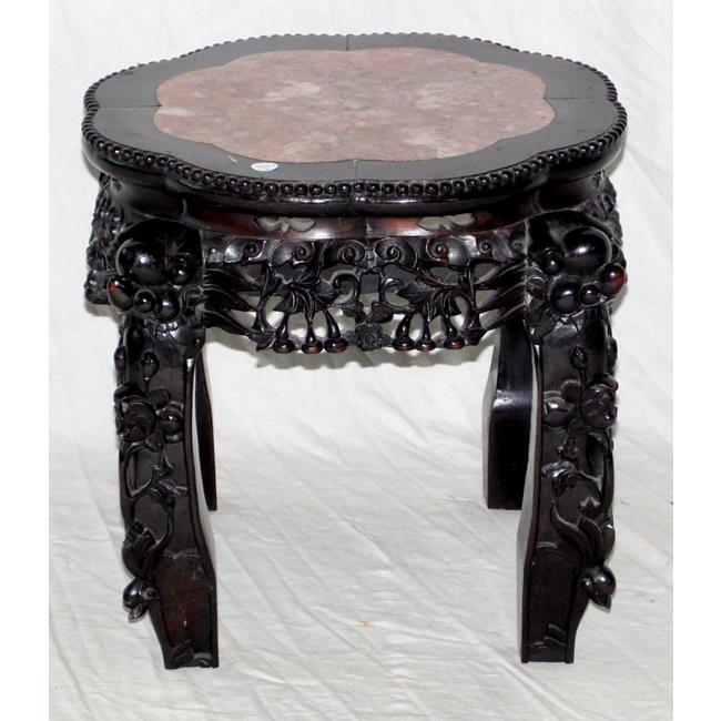 Rare Chinese Hua-Li Wood & Rouge Marble Urn Stand