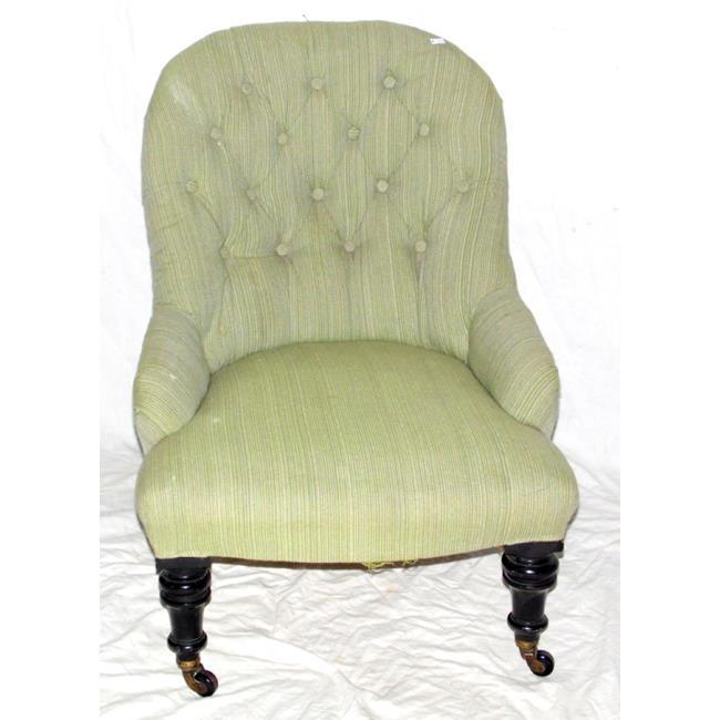 Victorian Button Back Ebonised Nursing Chair 19thc