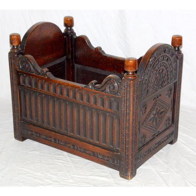 Rare Charles II Style Carved Oak Childs Cradle