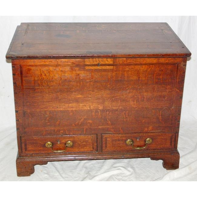 An 18th Century Oak and Inlaid Mule Chest.