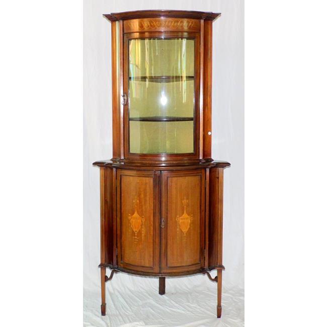 Edwardian Inlaid Mahogany Corner Display Cabinet..