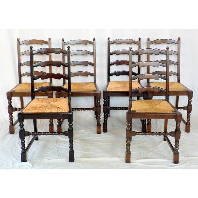 Set of 6 Ladder Back Rush Seat Dining Chairs