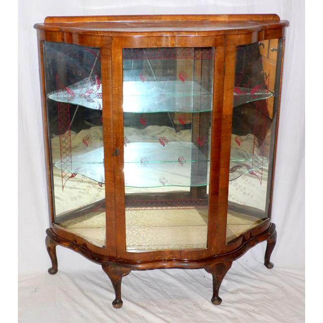 1930s Walnut Serpentine Front Display Cabinet