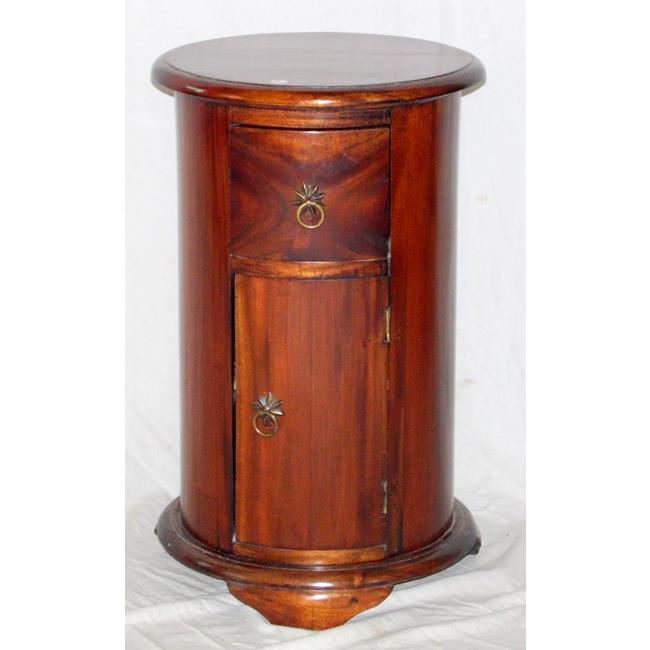 Vintage Cylindrical Mahogany Bedside Cabinet.
