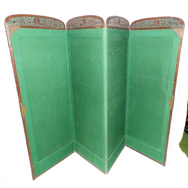 Antique Green Baize Carved Mahogany 4 Fold Screen.