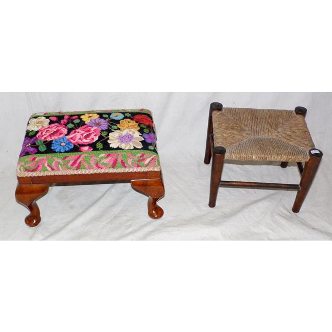 1920's Foot Stool + a Victorian Country Rush Stool