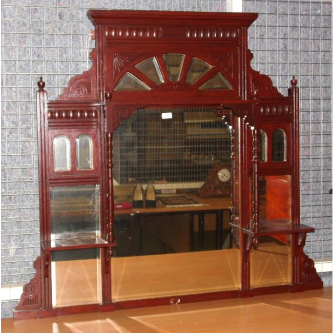 19th Victorian Mahogany Overmantle Mirror