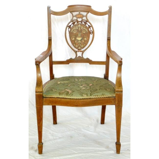 Edwardian Inlaid Mahogany,Rosewood and Satinwood Elbow Chair.